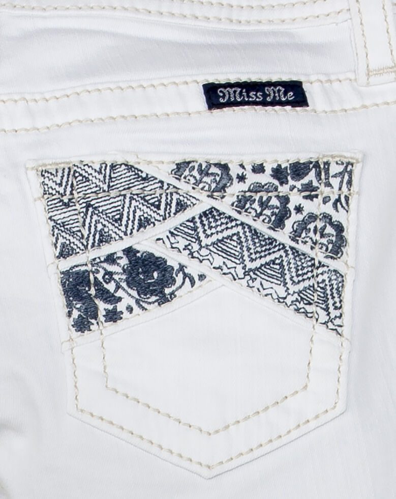 Miss Me Girls' Swept Away Mid Shorts , White, hi-res