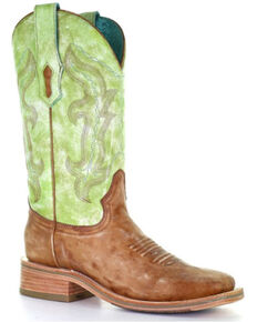 Corral Women's Sand Green Embroidery Western Boots - Wide Square Toe, Sand, hi-res