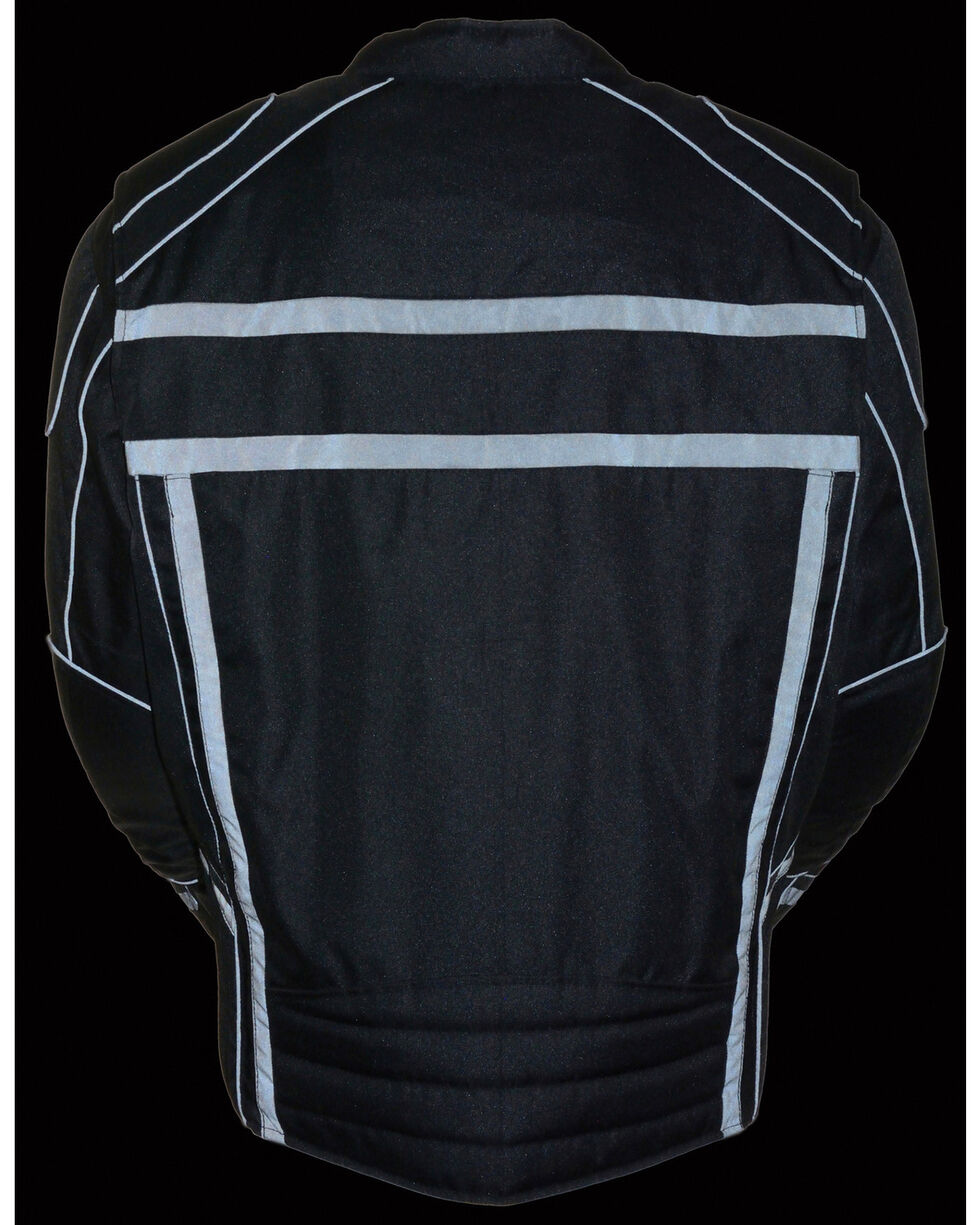 Milwaukee Leather Black Vented Reflective Jacket , Black, hi-res