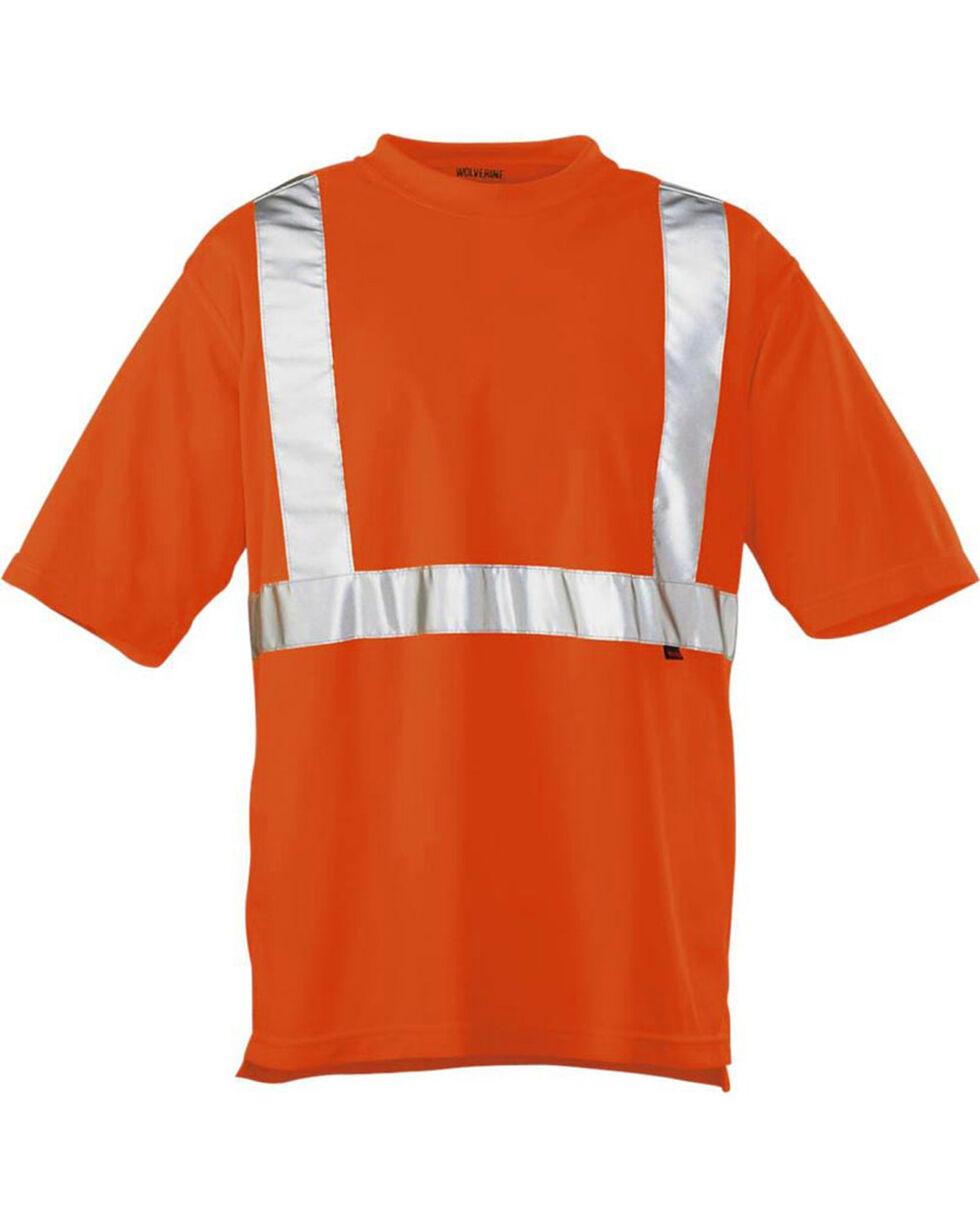 Wolverine Men's High Visibility Reflective Short Sleeve Polyester T-shirt, Orange, hi-res