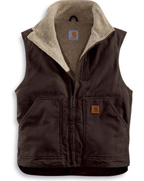 Carhartt Sherpa Lined Sandstone Duck Work Vest, Brown, hi-res