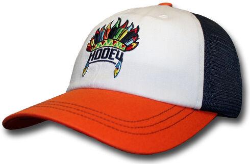 HOOey Women's Orange and Navy Nana Trucker Hat , Orange, hi-res