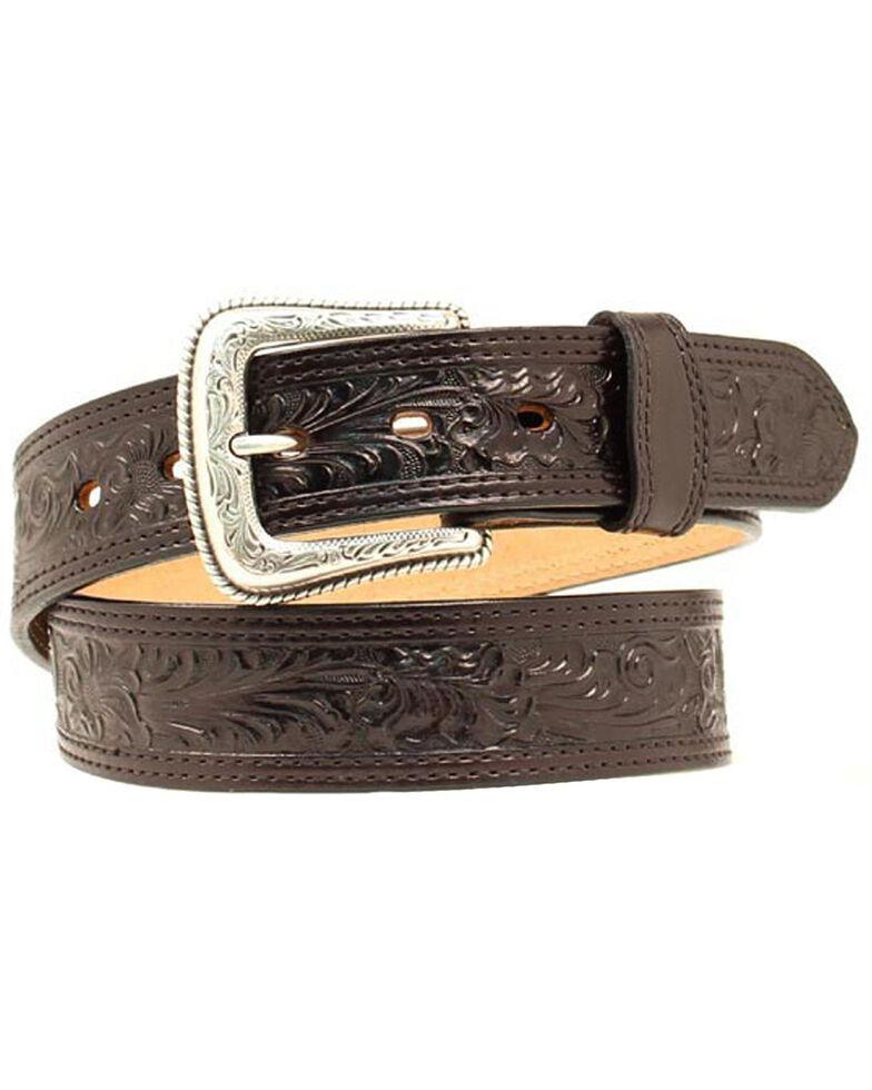 Nocona Floral Embossed Leather Belt, Black, hi-res