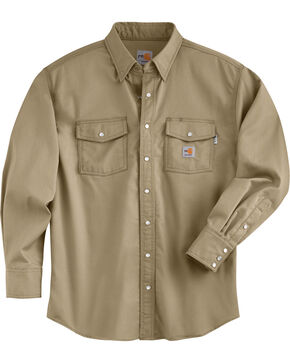 Carhartt Men's Flame Resistant Snap Front Shirt - Big & Tall, Beige, hi-res