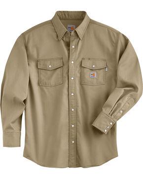 Carhartt Men's Flame Resistant Snap Front Shirt - Big & Tall, Beige, hi-res