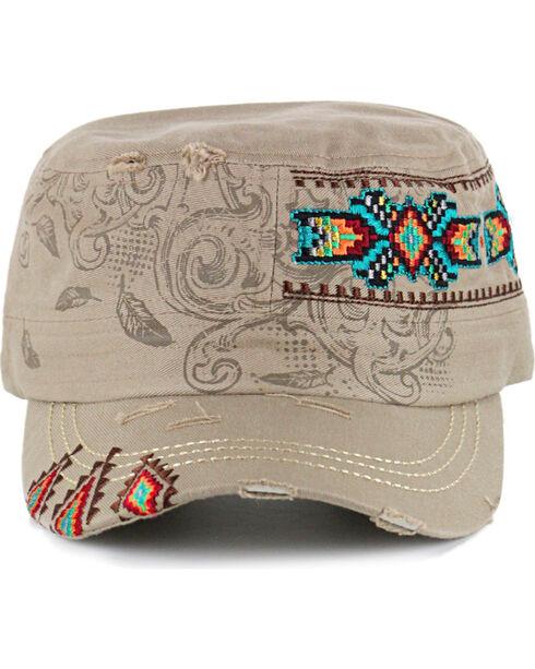 Savana Women's Tribal Print Embroidered Military Hat , Tan, hi-res