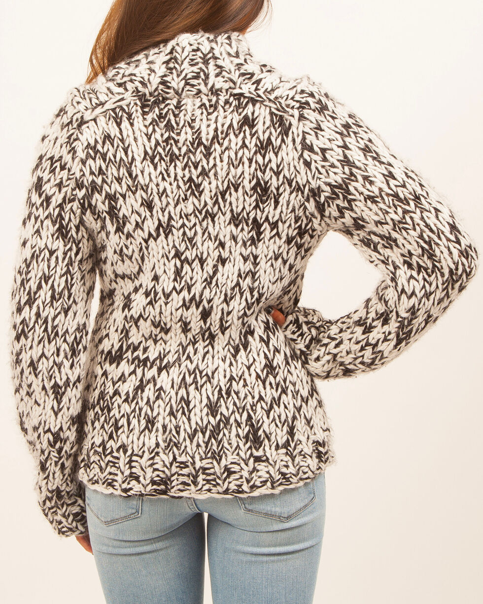 White Crow Women's Chunky Marled Sweater, Black, hi-res