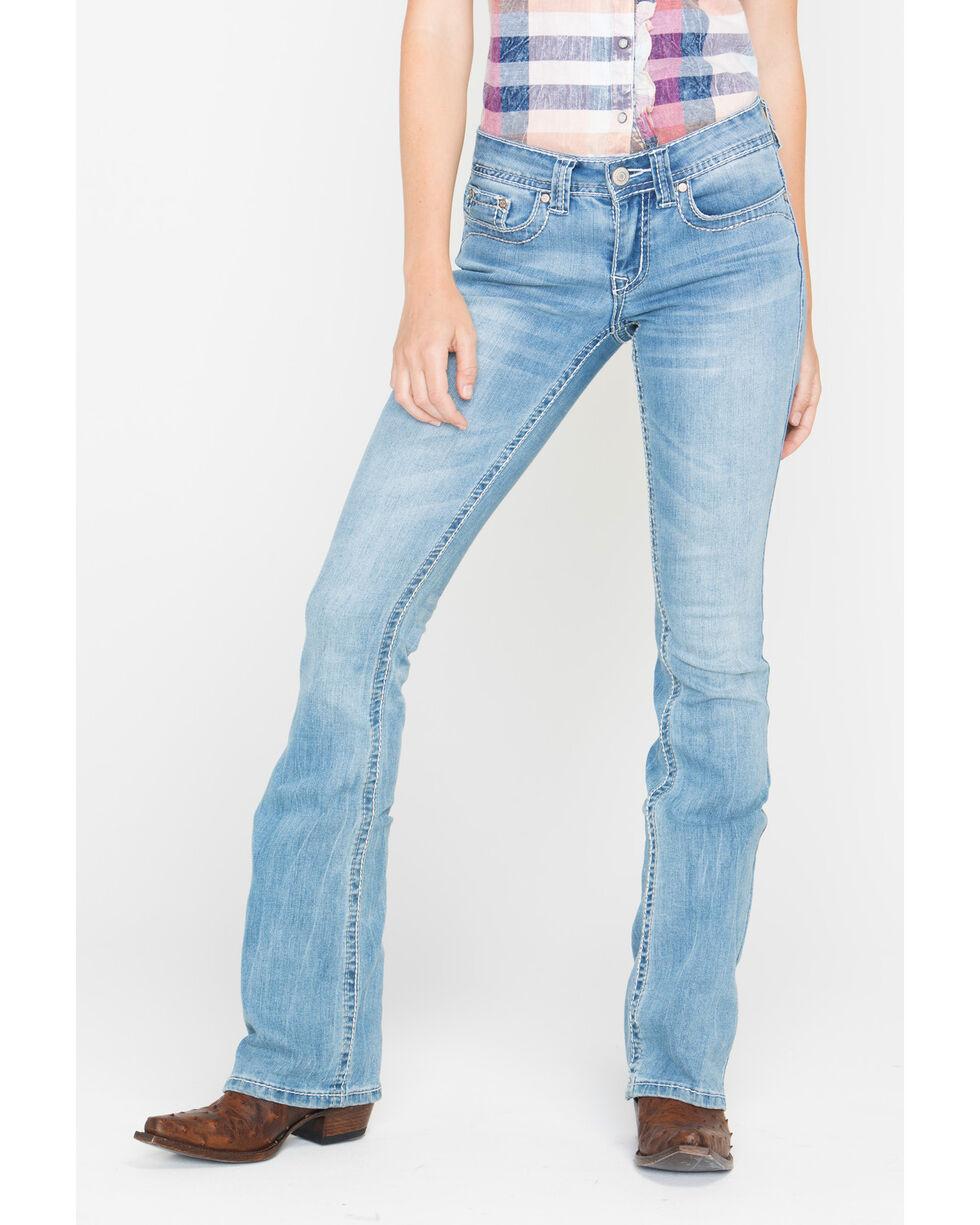 Shyanne Women's Mid-Rise Stitched Slim Jeans - Boot Cut, Blue, hi-res