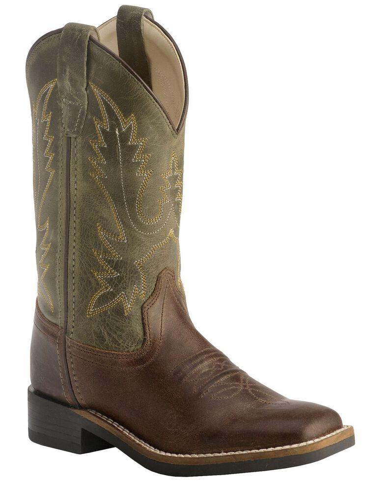 Old West Children's Stitched Olive Cowboy Boots - Square Toe, Barnwood, hi-res