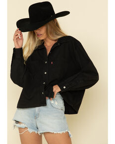 Levi's Women's Black Long Sleeve Crop Western Shirt, Black, hi-res