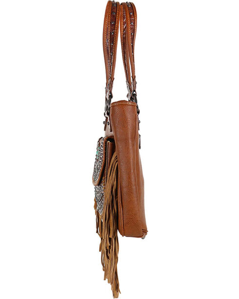 Shyanne Studded Fringe Shoulder Bag, Brown, hi-res