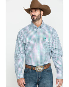 Cinch Men's White Small Plaid Double Pocket Long Sleeve Western Shirt , White, hi-res