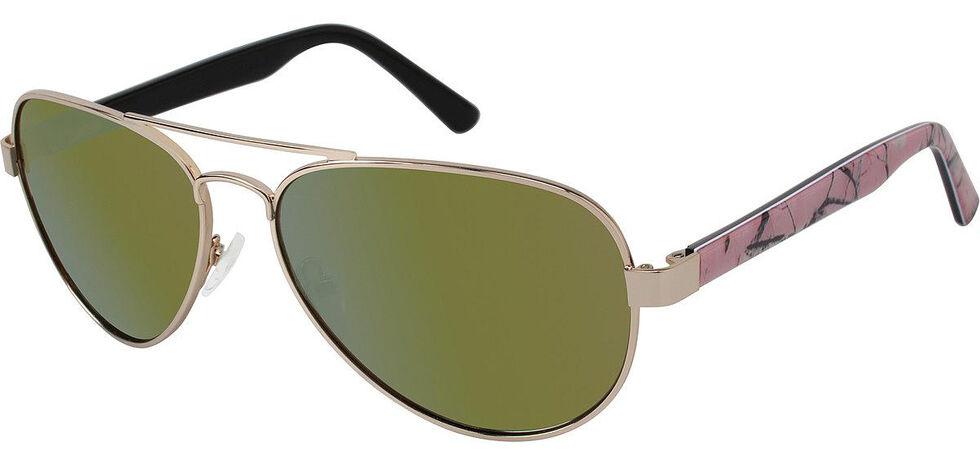 Realtree Women's Gold Aviator Polarized Lens Sunglasses , Gold, hi-res