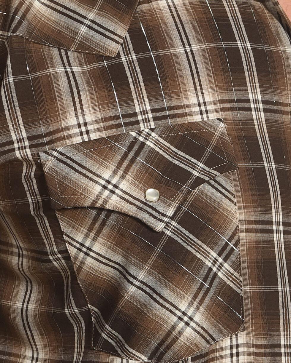 Ely Cattleman Men's Brown Lurex Plaid Long Sleeve Snap Shirt, Brown, hi-res
