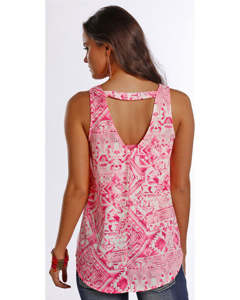 Rock & Roll Cowgirl Women's Pink Printed Georgette Back Tank , Pink, hi-res