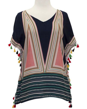 Young Essence Women's Short Sleeve Geometric Print Tassel Top, Multi, hi-res