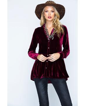 Ryan Michael Women's Silk Velvet Shirt , Burgundy, hi-res