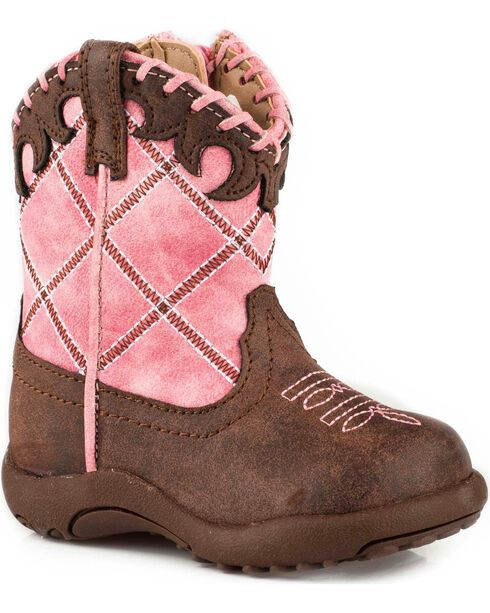 Roper Infant Girls' Cowbaby Diamond Whipstitch Pre-Walker Cowgirl Boots, Pink, hi-res