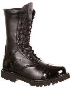 Rocky Women's Side Zipper Work Boots - Round Toe, Black, hi-res