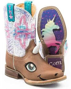 Tin Haul Girls' Unicorn Western Boots - Square Toe, Tan, hi-res