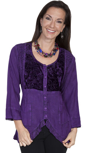 Scully Women's Ruffled Velvet Blouse, Purple, hi-res