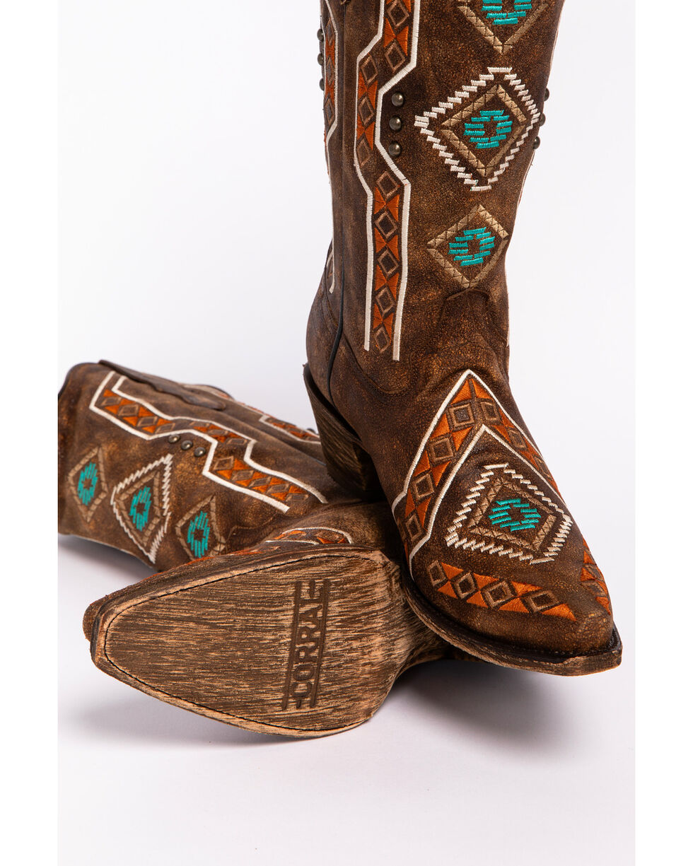 Corral Women's Aztec Embroidered Cowgirl Boots - Snip Toe, Brown, hi-res