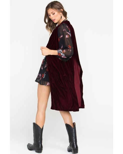 Shyanne Women's Burgundy Velvet Split Back Vest, Burgundy, hi-res