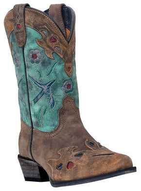Dan Post Girls' Blue Bird Cowgirl Boots - Snip Toe, Brown, hi-res