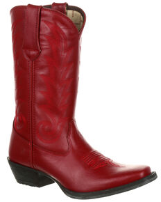 Durango Womens Scarlet Rose Full-Grain Leather Western Boots - Square Toe, Light Red, hi-res