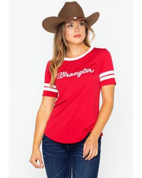 Wrangler Women's Red Classic Logo Baseball Tee , Red, hi-res