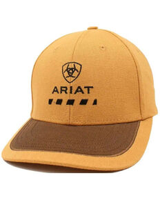 Ariat Men's Brown Rebar Oilskin Embroidered Logo Ball Cap, Brown, hi-res