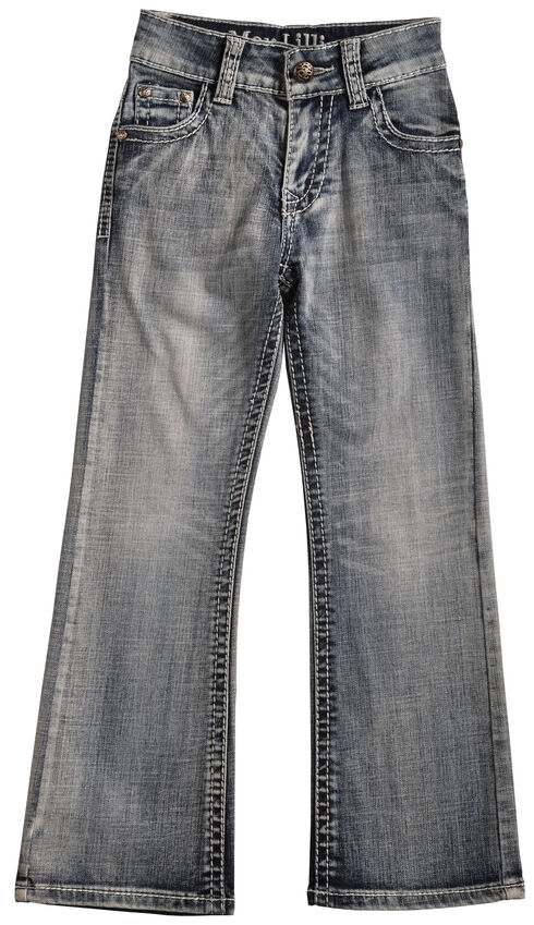 Cowgirl Legend May Lillie Girls' Faded Zig-Zag Jeans, Indigo, hi-res