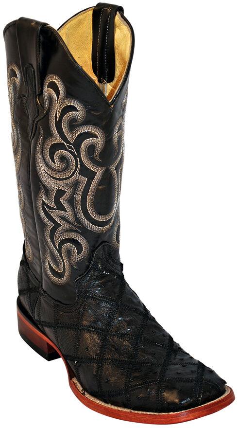 Ferrini Ostrich Patchwork Exotic Western Boots - Square Toe , Black, hi-res