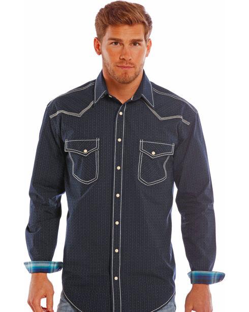 Rough Stock by Panhandle Slim Men's Navy Ralisades Vintage Dobby Shirt , , hi-res