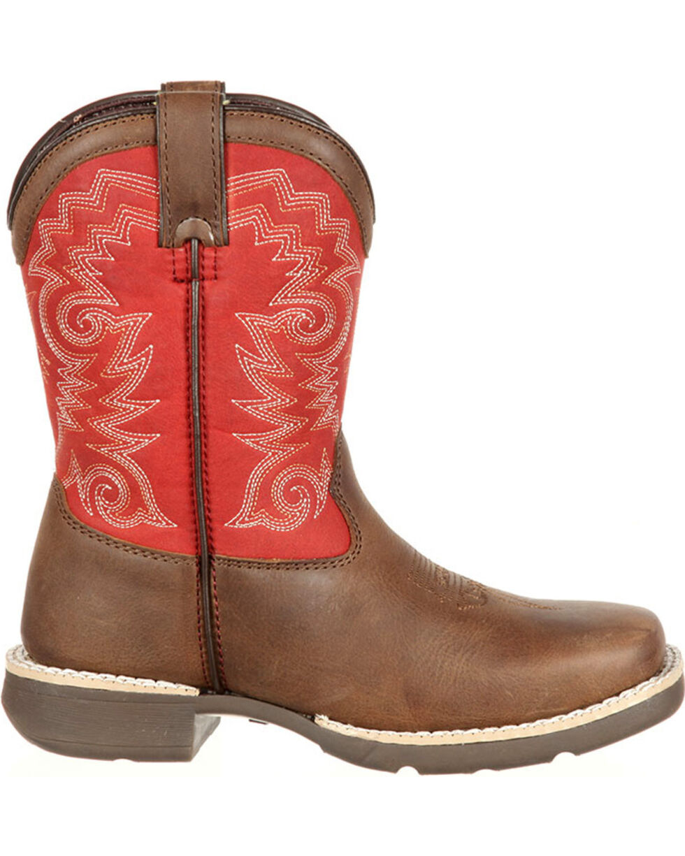 Lil' Durango Youth Boys' Stockman Western Boots - Square Toe, Brown, hi-res
