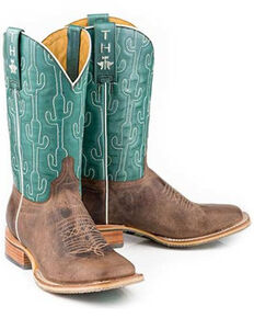 Tin Haul Women's Puff Cactus Western Boots - Wide Square Toe, Tan, hi-res