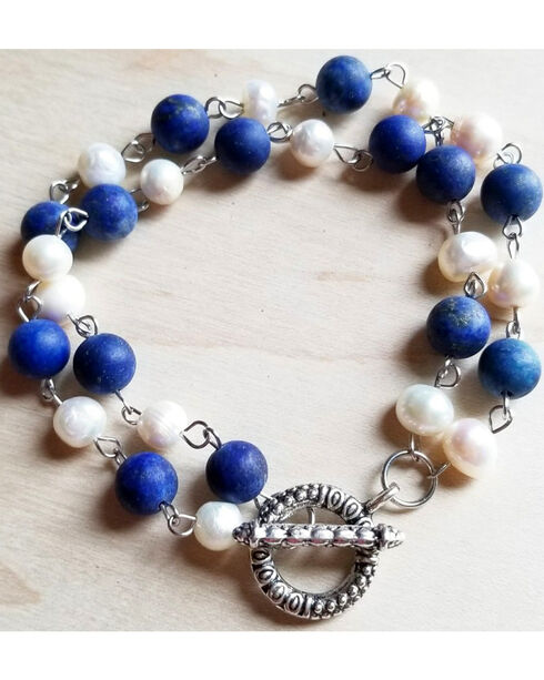 Jewelry Junkie Women's Frosted Lapis Freshwater Pearl Bracelet , Blue, hi-res