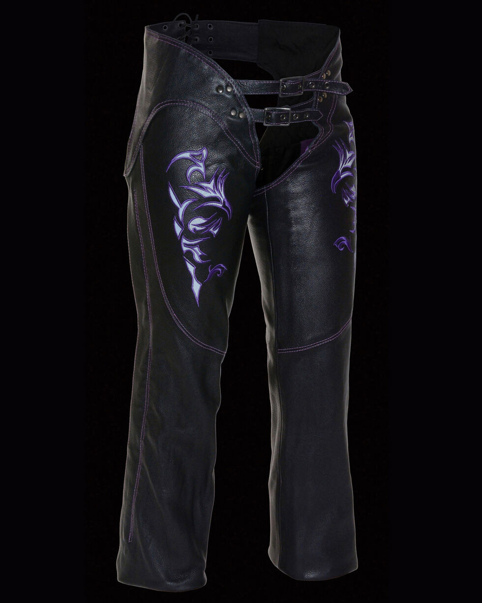 Milwaukee Leather Women's Reflective Tribal Embroidered Chaps - 3X, , hi-res