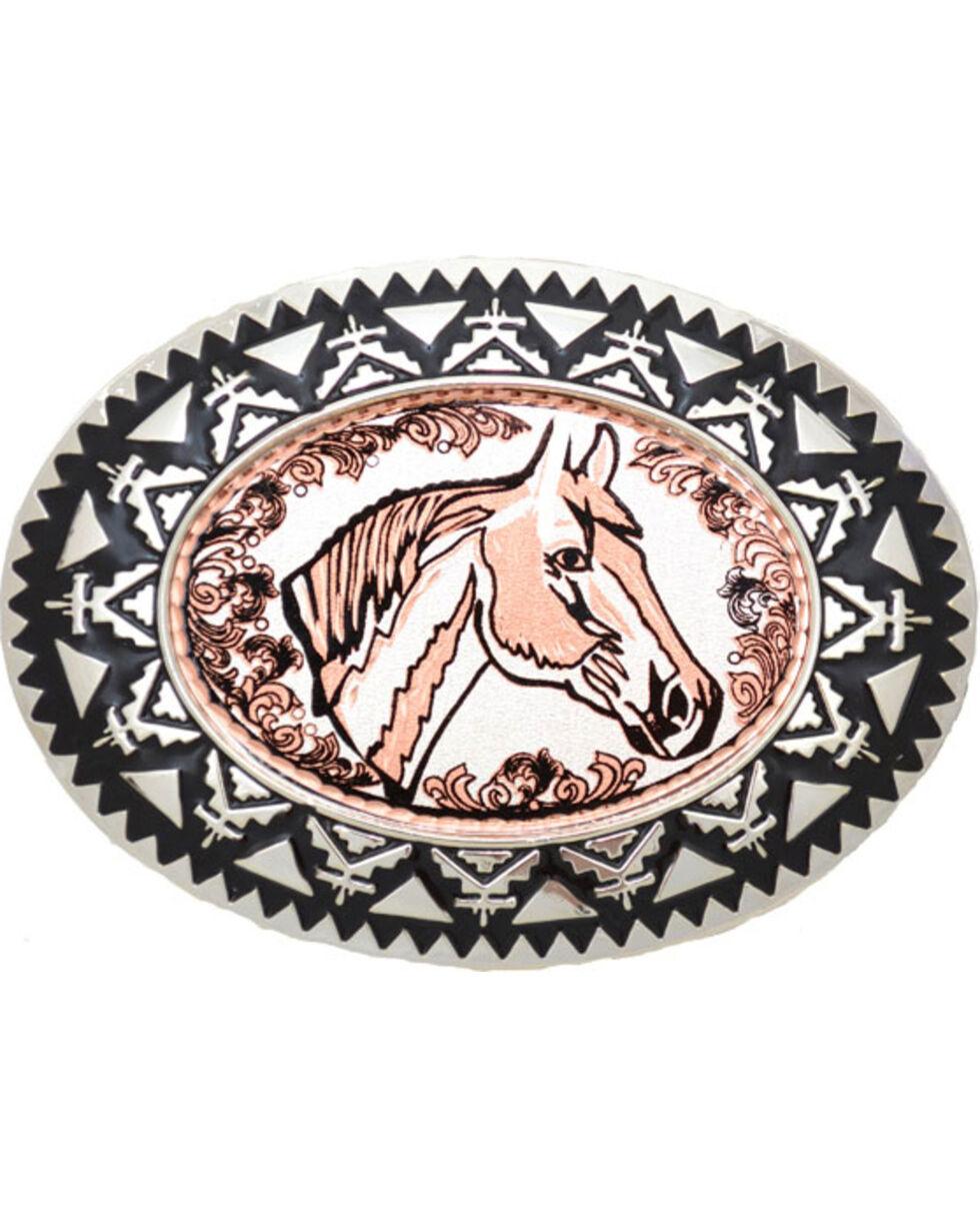 Western Express Men's Copper Horsehead with Filigree Belt Buckle , Rust Copper, hi-res