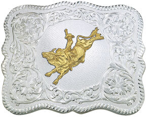 Montana Silversmiths Scalloped Silver Bull Rider Western Belt Buckle, Multi, hi-res