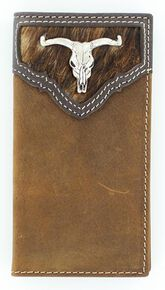 Nocona Hair-On-Hide Steer Skull Concho Rodeo Wallet, Brown, hi-res