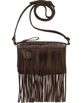 Bandana by American West Sun Valley Fringe Crossbody Bag, Chocolate, hi-res