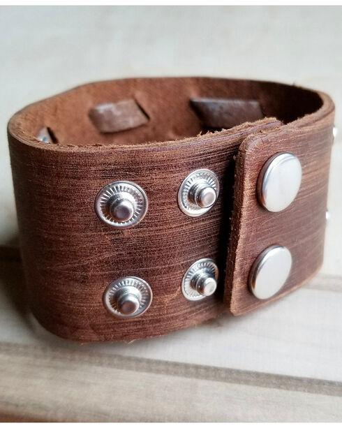 Jewelry Junkie Women's Genuine Dusty Leather Woven Cuff Bracelet, Brown, hi-res