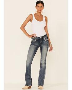 Grace in LA Women's Wave Medium Wash Low Rise Bootcut Jeans, Blue, hi-res