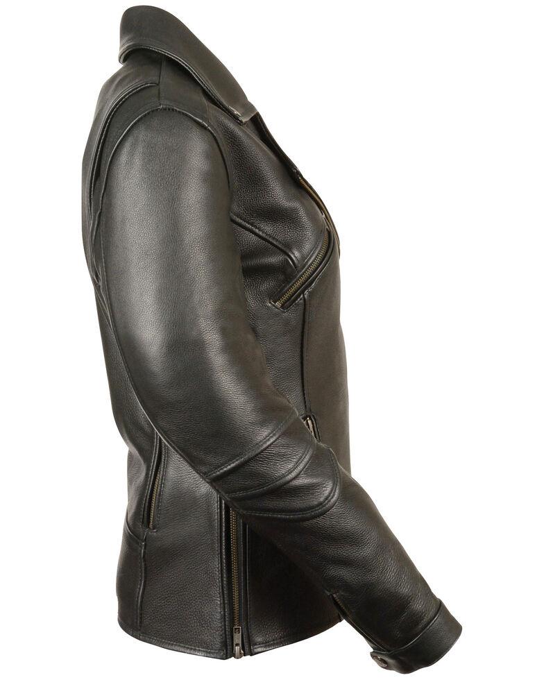 Milwaukee Leather Women's Long Length Vented Biker Leather Jacket, Black, hi-res