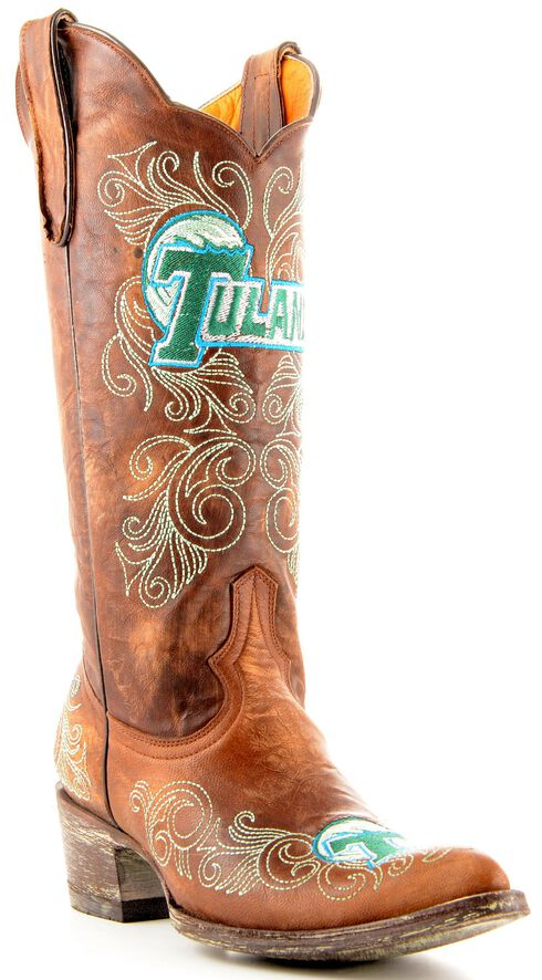 Gameday Tulane University Cowgirl Boots - Pointed Toe, Brass, hi-res