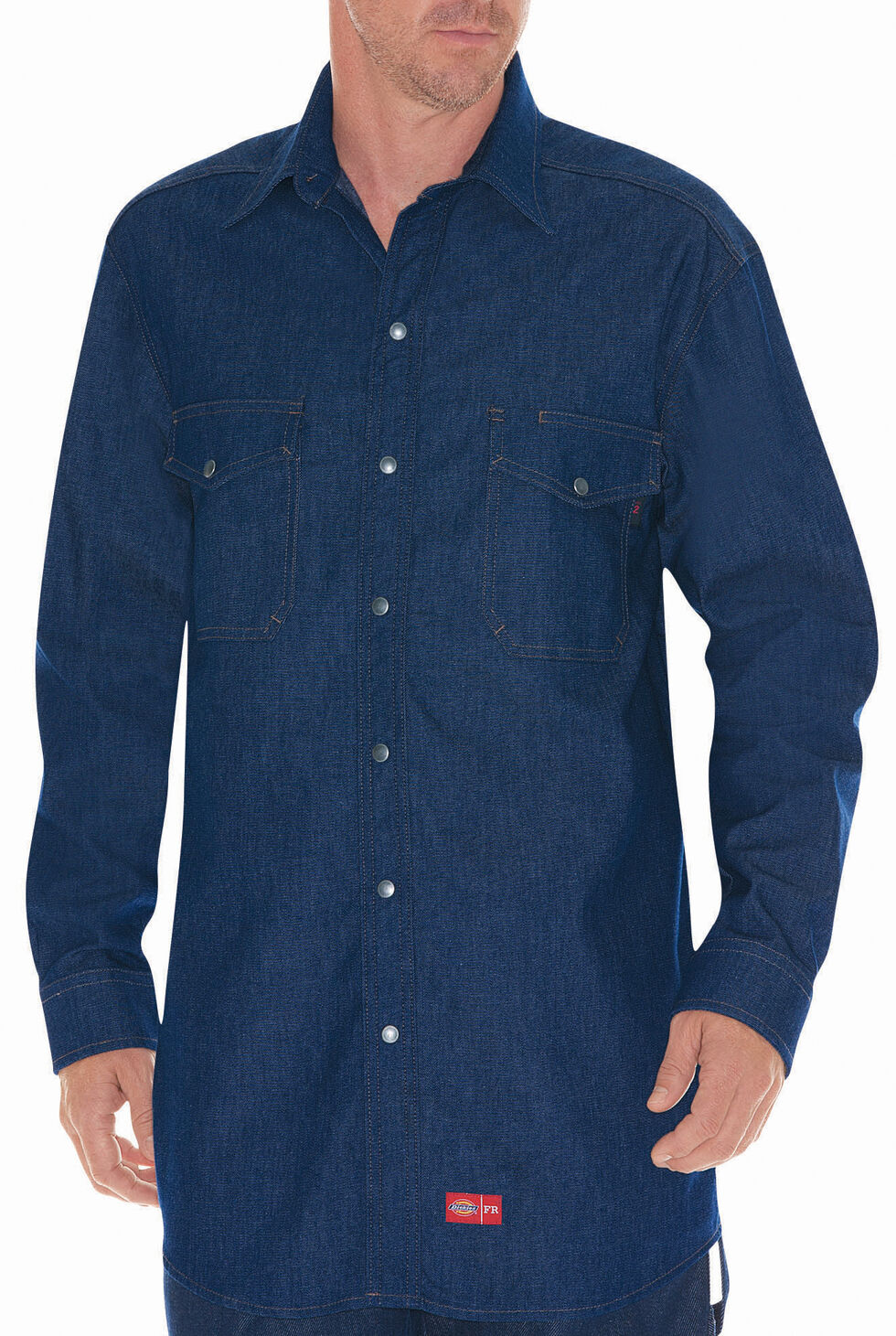 Dickies Flame Resistant Denim Work Shirt, Blue, hi-res