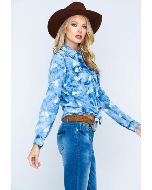 Ryan Michael Women's Indigo Bucking Horse Shirt , Indigo, hi-res