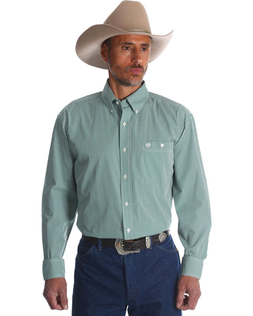 Wrangler Men's Classics Check  Long Sleeve Button Down Shirt, Green, hi-res