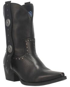 Dingo Women's Black True West Leather Western Fashion Bootie - Snip Toe, Black, hi-res